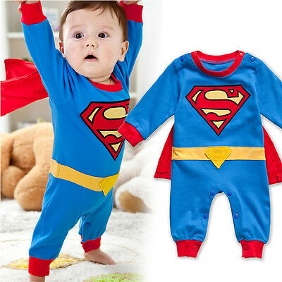 Superman Long Sleeve Baby Dress Infant Romper Outfit Jumpersuit Costume