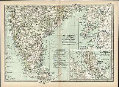 Southern India 1898 antique color lithograph map