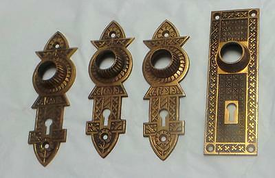 4 Antique Brass Door Plates  Arts and Crafts ca. 1900