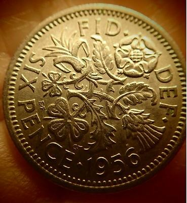 "1956 UK - Great Britain *Wedding Sixpence-""Something Old Something New"""