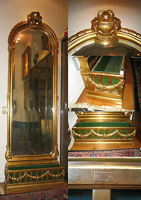 """Mirror  19 C Tall Gold Leaf  Planter Base French""""signed"""".size :100"""" By:31.5"""""""
