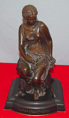 Peiffer 19C Bronze Of A Beauty On Stool & Oil Lamp On Marble Base Fine Details