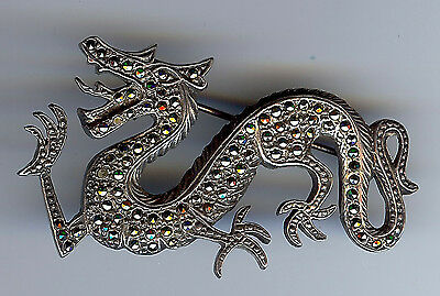 Quality 925 Sterling Silver Marcasite Dragon Pin
