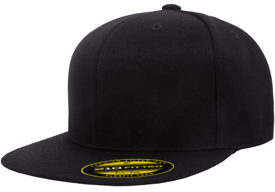63b4c787cee 6210 T New Flexfit Premium Flatbill Fiited Baseball Cap 210 Flat Bill Black  Hat