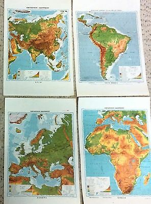 ~Lot of 4~VINTAGE MAPS~Denoyer-Geppert~Classroom Student Desk Handouts~Europe~