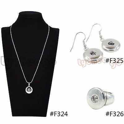 1 Set Silver Colour Snap On Chunk Button Fastener Charms Pendant Jewelry DIY New