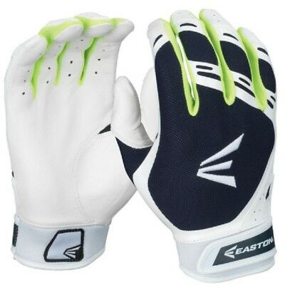 1pr Easton HF7 Hyperskin Womens Large White / Navy Fastpitch Batting Gloves