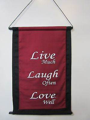 Mini Inspirational Affirmation Wall Hanger Scroll Burgundy Live Laugh Love