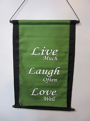 Mini Inspirational Affirmation Wall Hanger Scroll Green Live Laugh Love