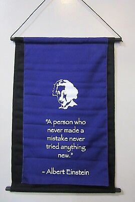 Mini Inspirational Affirmation Wall Hanger Scroll Einstein Purple