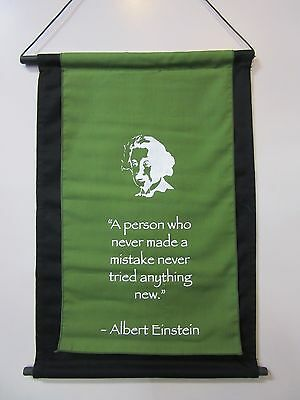 Mini Inspirational Affirmation Wall Hanger Scroll Einstein Green