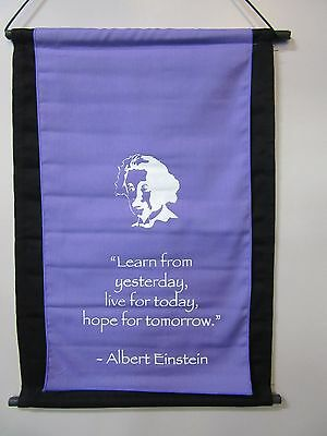 Mini Inspirational Affirmation Wall Hanger Scroll Einstein Violet