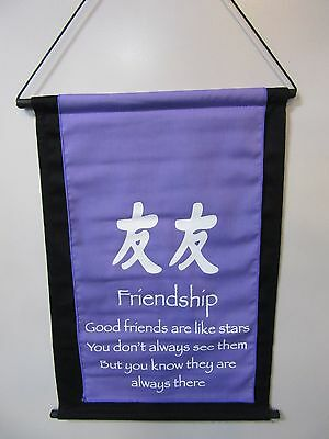 Mini Inspirational Affirmation Wall Hanger Scroll Friendship Violet