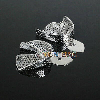 2PCS Dental Impression Trays Stainless steel Tray Small size 1 upper+1 lower