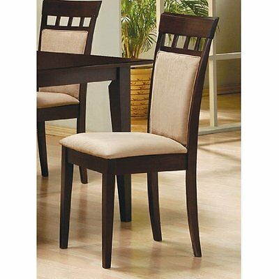 Coaster Cushion Back Dining Chairs, Cappuccino, Set Of 2, French Oak, Modern