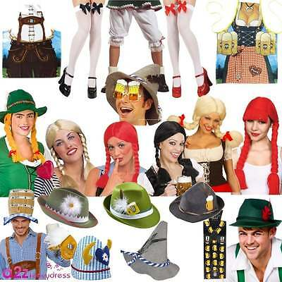 Bavarian Oktoberfest Adult Ladies Mens Hats Wigs Stockings Glasses Accessories