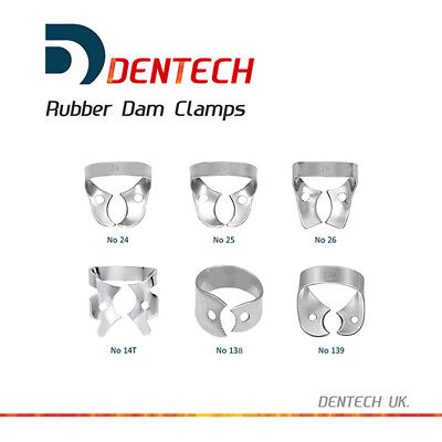 Dentech Dental 6Pcsx Restorative Rubber Dam Clamps S. Steel 24 25 26 14T 138 139