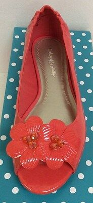 Lindsay Phillips Kate Coral  Peep Toe Flat Shoe Size 7 New In Original Box