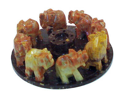 Beautiful Hand Carved Soapstone 8 Elephant Ring Cone Incense Burner FREE SHIP