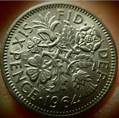 "1964 UK  Great Britain *Wedding Sixpence ""Something Old Something New"""