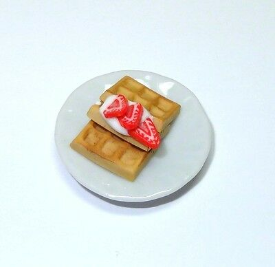Dollhouse Miniature Artisan Crafted Waffles w Strawberries 1:12 Scale Doll House