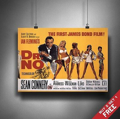 Dr No James Bond 1962 Movie Poster A3 A4 Classic Vintage Sean Connery Film Print
