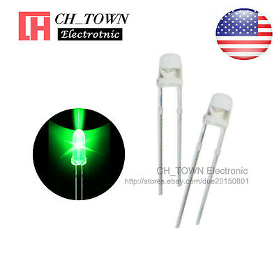 100pcs 3mm Transparent LED Water Clear Green Light Diodes Round Top Ultra Bright