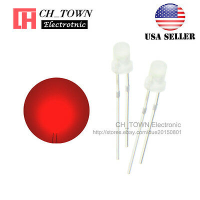 100pcs 3mm Diffused White Color Red Light Round Top LED Emitting Diodes USA