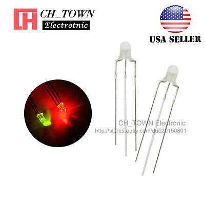 100pcs 3mm 3Pin Common Cathode Water Clear Bi-Color Red Green Light Led Diodes