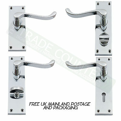 Chrome Internal Door Handle Sets - Lever Lock, Latch, Privacy Or Bathroom Scroll