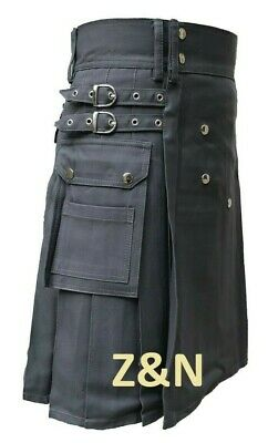 "Brand New Men's Grey Cotton Utility Kilt, Sizes From 30"" - 50"""