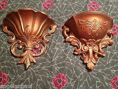 Lot Of 2 Vintage Plastic Made In Italy Gold Wall Sconces Planters Decor