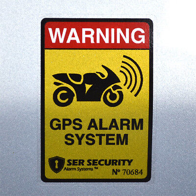 2 GPS TRACKING MOTORBIKE STICKERS - Alarm System Decals for Motorcycle Bike