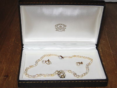 RARE Antique Natural Pearl Necklace & Earrings Carteaux 14k gold Hollywood