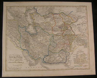 Iran Afghanistan Turkestan Beloochistan 1835 antique engraved hand color map