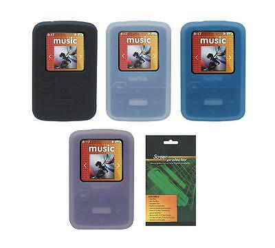 Soft Skin Cover Case and Screen Protector for Sandisk Sansa Clip Zip (SDMX22)