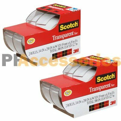 "4x 3M Scotch Clear Office Transparent Tape 3/4"" 250"" w/ Desktop Dispenser Lot"