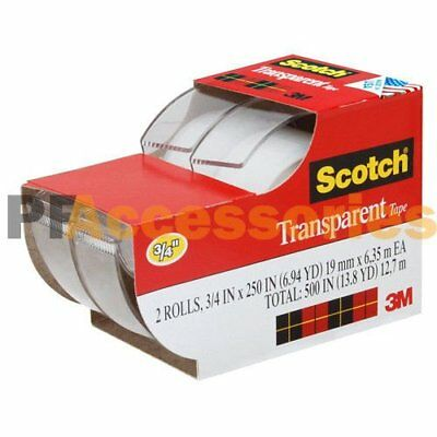 "2x 3M Scotch Clear Office Transparent Tape 3/4"" 250"" w/ Desktop Dispenser Lot"