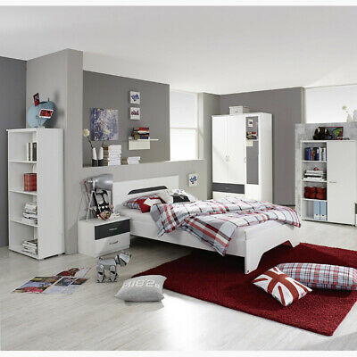 jugendzimmer kinderzimmer set wei grau jugendbett kleiderschrank nachttisch eur 558 09. Black Bedroom Furniture Sets. Home Design Ideas