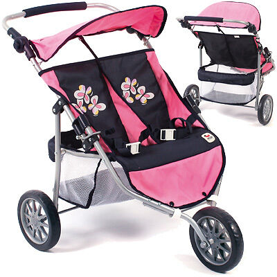 Bayer Chic 2000 Zwillingspuppenjogger pink Puppenwagen Buggy Jogger Zwillinge
