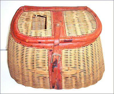 "Vintage wicker/leather Fly Fishing CREEL basket made British Hong Kong 8"" ruler"