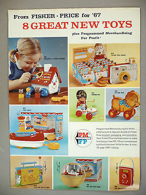 Fisher-Price New Toys 2-Page PRINT AD - 1967 ~ toys, toy