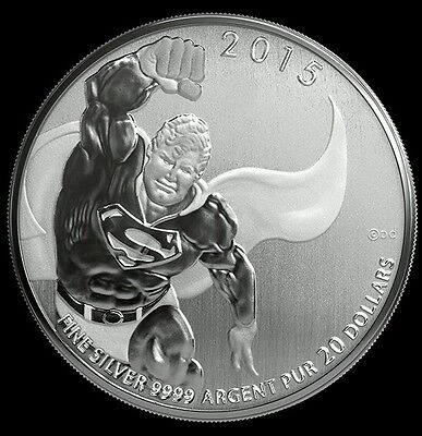 $20 Pure Silver SUPERMAN Canadian Coin, NO TAX or CUSTOMS FEE for USA, IN STOCK!