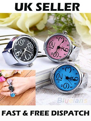 Women Girl Chic Fabulous Vogue Steel Round Elastic Quartz Finger Ring Watch