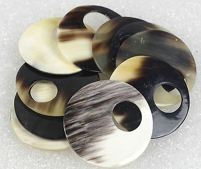 "LOT OF 10 Animal Cow Horn Polished Discs 37mm, 1 1/2"" DRILLED for JEWELRY MAKING"