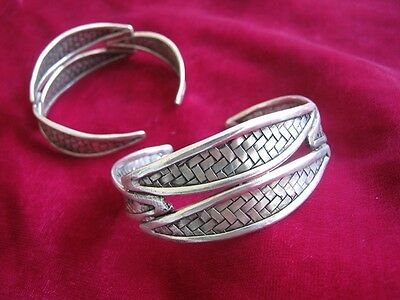 Vintage Style Handmade Miao Silver Blade woven bracelet 1 pair W2518
