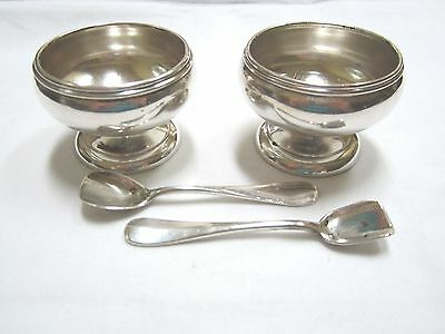 Set Of 2  Sterling Silver Salt Cellars With Spoons Hallmarked