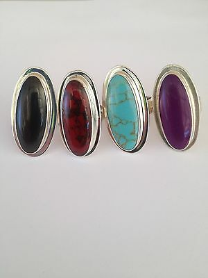 HALF PRICE LIMITEDMexican Sterling Silver rings Turquoise Onyx Coral or Amethyst