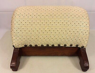Antique Round Top Oak Foot Stool Nice Pressed Wood Detailing Early 1900s