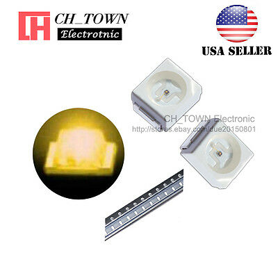 100PCS 1210 (3528) Yellow Light PLCC-2 SMD SMT LED Diodes Ultra Bright USA